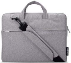 Witte POFOKO 11.6 inch laptoptas met schouderband - Grijs
