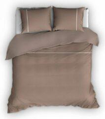 Warme Flanel Eenpersoons Dekbedovertrek Stripe Taupe/Wit | 140x200/220 | Hoogwaardig En Zacht | Ideaal Tegen De Kou