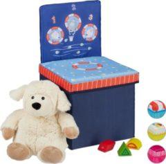 Donkerblauwe Relaxdays opbergbox - opvouwbaar - kinderen - speelgoedkist - poef - hocker - opbergruimte Sea Life