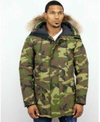 Groene Y chromosome Winterjassen - Heren Winterjas Lang - Kunstkraag - Exclusive Camouflage Parka - XL