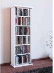 Regal DVD CD Rack Medienregal Medienschrank Aufbewahrung Holzregal Standregal Möbel Bluray Schrank VCM Weiß