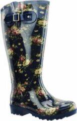 Regenlaarzen WIDE WELLIES Blauw flowers Kuitwijdte L (40 cm) maat 37