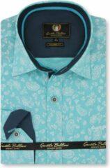 Blauwe Gentile Bellini Heren Overhemd - Slim Fit - Paisley Ornament - Turquoise - Maat XXL