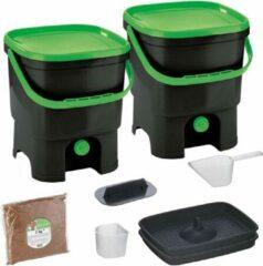 Skaza Exceeding Expectations Skaza Bokashi Organko keukencompostbak van gerecycled plastic | 2x 16 L | Starter Set voor keukenafval en compostering | met EM zemelen 1 kg | Zwart groen