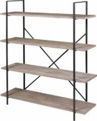 Bruine Gebor Industriële Wandstelling met 4 Planken - Industrieel Design – Uniek – Interieur – Kast – Boekenkast – Wandmeubel – 140x120x32cm – Model Country Side