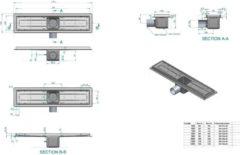 Roestvrijstalen Ben B-Drain Douchegoot inbouwdeel 110cm waterslot 50mm RVS