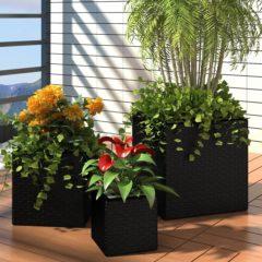 VidaXL Plantenbakken verhoogd 3 st poly rattan zwart VDXL 41081