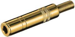 Gouden S-Impuls 6,35mm Jack (v) connector - metaal verguld - 2-polig / mono