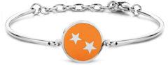 CO88 Collection Zodiac 8CB 90324 Stalen Armband met Hanger - Sterrenbeeld Tweelingen 15 mm - One-size - Zilverkleurig / Oranje
