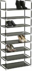 Zwarte TecTake metalen schoenenrek - 8 niveaus - Max. 24 paar schoenen
