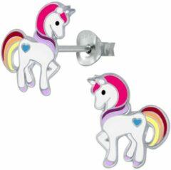 Oorbellen meisje   Oorbellen kinderen   Eenhoorn oorbellen   Zilveren oorstekers, eenhoorn met verschillende kleuren manen en staart   WeLoveSilver