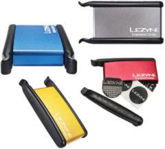 Zilveren Lezyne metalen doosje met bandenlichters en bandenplakkers - Reparatiesetjes