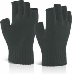 Donkergrijze Senvi Classic Vingerloze Handschoenen met Geribbelde Manchetten - Donker Grijs - S/M