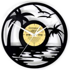 Zwarte Yesterdays Vinyl Vinyl Klok Strand met Palmboom en Vogels - LP Klok - Ø 30 CM