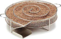 Zilveren Krumble Smokerbox rond ø20cm - Ronde rookbox voor het koud roken van vlees, vis, kaas of andere etenswaren in de barbecue of smoker - RVS