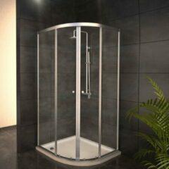 Adema Glass douchecabine kwartrond met 2 schuifdeuren 90x90x189cm helder glas inclusief douchebak 4cm