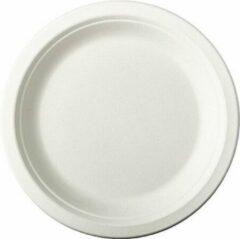 Pure - Disposable Tableware 12x Witte suikerriet gebaksbordjes 18 cm biologisch afbreekbaar - Ronde wegwerp bordjes - Pure tableware - Duurzame materialen - Milieuvriendelijke wegwerpservies borden - Ecologisch verantwoord