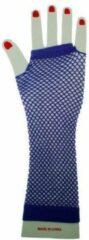 Thema party Vingerloze nethandschoenen fluo paars lang