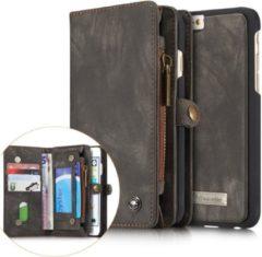 Caseme Iphone 6/6S Luxe Lederen Portemonnee Hoesje - uitneembaar met backcover (grijs)