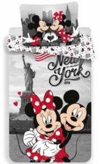 Rode Disney Minnie Mouse New York - Dekbedovertrek - Eenpersoons - 140 x 200 cm - Multi