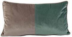 Cosy&Trendy KUSSEN VELVET GRIJS GROEN 50X30XH10CM POLYESTER - sierkussen - kussen - 2 kleuren