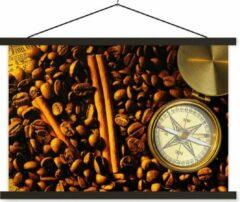 TextilePosters Kompasroos tussen koffiebonen en kaneelstokjes schoolplaat platte latten zwart 90x60 cm - Foto print op textielposter (wanddecoratie woonkamer/slaapkamer)