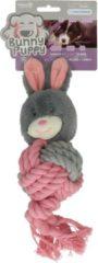Bunny Puppy Ropey Ball - Hondenspeelgoed - 38x13x9 cm Grijs Roze
