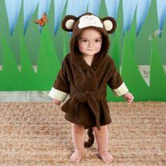 Bruine Baby badjas - Komfor - Aapje - Inclusief gratis baby borstel & kam