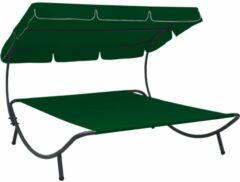 VidaXL Loungebed met luifel groen
