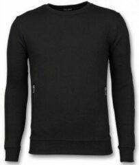 Grijze Enos Casual Crewneck - Buttons Trui - Zwart Joggingbroek , Trainingspak Heren Sweater Maat XS