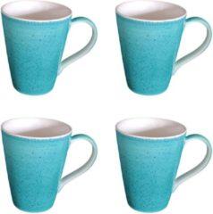 DeSfeerbrenger Mok - Beker - Set van 4 stuks mokken/bekers - Keramiek - 100% hand painted - Teal/Neon Turquoise- 300 ml