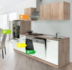 Respekta kitchen economy Respekta Küchenzeile KB280ESWOES 280 cm Weiß-Eiche Sägerau Nachbildung