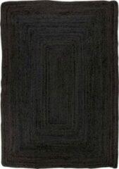 Hioshop Broom vloerkleed 240x180 cm in jute donkergrijs.