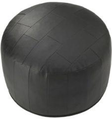Sitzkissen-Patchwork Kunstleder schwarz Ø 50/34 cm Linke Licardo schwarz