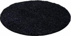 Flycarpets Hoogpolige Vloerkleed Candy Shaggy - Zwart - 200 cm Rond