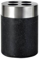 Tandenborstelhouder Sapho Stone Vrijstaand 10.2x7.5 cm Polyresin Zwart