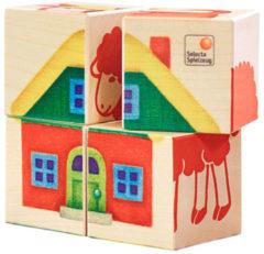 Selecta Spielzeug Blokkenpuzzel Boerderij Junior 10 X 10 Cm Hout 4-delig