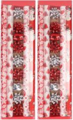 Bellatio Decorations 2x stuks kerst inpakpapier/cadeaupapier set rood/wit 13-delig - Kerstcadeaus/kerstcadeautjes inpakken pakket