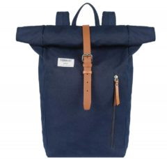 Sandqvist Dante Backpack blue with cognac brown leather