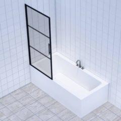 Badkamerdepot Badwand Frame 150x80 cm 8 mm NANO Glas Mat Zwart Raster