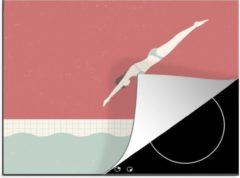 KitchenYeah Luxe inductie beschermer Zwemmen illustratie - 65x52 cm - Een illustratie van een vrouw die duikt bij het zwemmen - afdekplaat voor kookplaat - 3mm dik inductie bescherming - inductiebeschermer