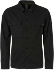 Zwarte No Excess Shirt long sleeve full zip + button black
