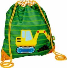 Groene Graafmachine / kraan kinder sporttas trekkoord tas - Die spiegelburg serie Later als ik groot ben ...