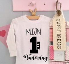 Merkloos / Sans marque Baby shirtje jongen meisje tekst voor papa mijn eerste vaderdag | lange mouw T-Shirt | wit zwart | maat 56 | leukste kleding babykleding cadeau verjaardag