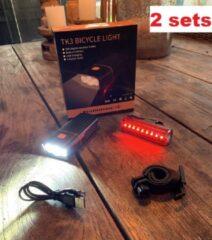 Zwarte RHRQuality RJRQuality ( 2 SETS) Fietslamp voorlicht TK3 en achterlicht set mega sterk batterij led usb oplaadbaar 1500 L fiets verlichting zware li-ion accu powerbank iphone zaklamp fietslampen Fietsverlichting achter koplamp
