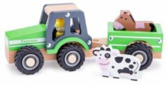 New Classic Toys tractor junior 24 cm hout groen 5-delig
