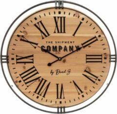 Modernklokken.nl Ronde Wandklok, Bruin, Hout, Koloniale Stijl, Ø 58 cm
