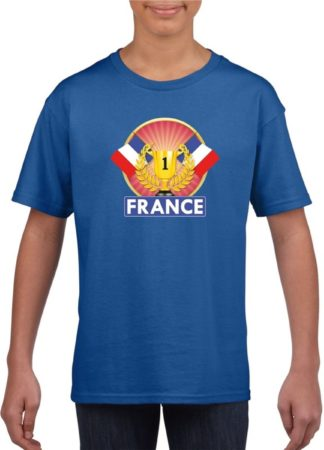 Afbeelding van Shoppartners Blauw Frans kampioen t-shirt kinderen - Frankrijk supporter shirt jongens en meisjes L (146-152)