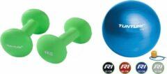 Groene Tunturi - Fitness Set - Neopreen Dumbbellset 2 x 4 kg - Gymball Blauw 75 cm