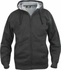 Antraciet-grijze Clique Basic hoody full zip antraciet mélange m